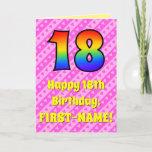 [ Thumbnail: 18th Birthday: Pink Stripes & Hearts, Rainbow # 18 Card ]