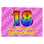 [ Thumbnail: 18th Birthday: Pink Stripes & Hearts, Rainbow # 18 Gift Bag ]