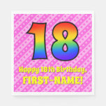 [ Thumbnail: 18th Birthday: Pink Stripes & Hearts, Rainbow # 18 Napkins ]