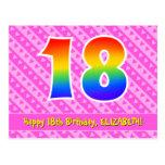 [ Thumbnail: 18th Birthday: Pink Stripes & Hearts, Rainbow 18 Postcard ]