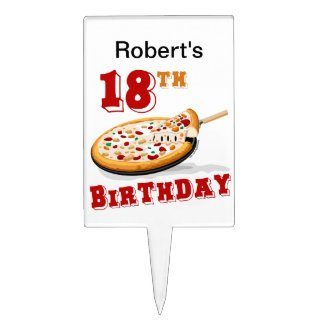 18th Birthday Pizza Party Cake Topper
