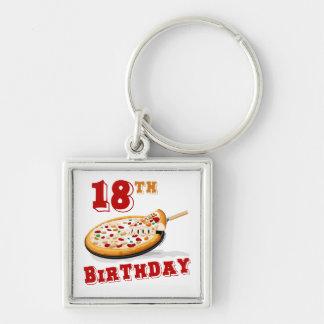18th Birthday Pizza Party Keychain
