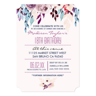 18th Birthday Purple & Turquoise Watercolor Flower 5x7 Paper Invitation Card