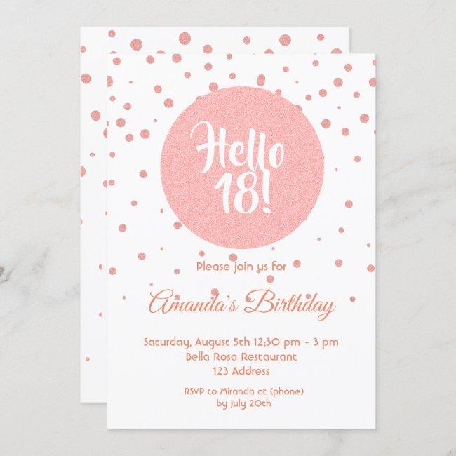 18th birthday rose gold confetti on white hello 18 invitation