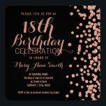 """18th Birthday Rose Gold Faux Glitter Confetti Blac Invitation<br><div class=""""desc"""">Elegant 18th Birthday Rose Gold Faux Glitter Confetti Black invitation template.</div>"""