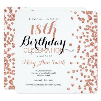 18th Birthday Rose Gold Faux Glitter Confetti Card