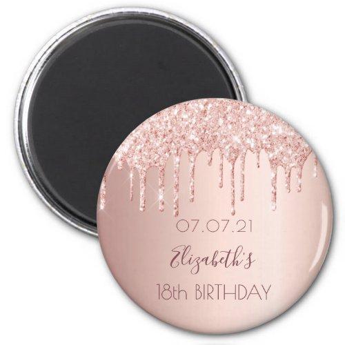 18th birthday rose gold glitter drips glam magnet