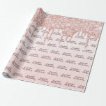 """18th Birthday rose gold glitter drips pink name Wrapping Paper<br><div class=""""desc"""">Elegant,  classic,  glamorous and feminine style party wrapping paper for a 18th birthday party. A girly pink,  rose gold ombre gradient background decorated with faux rose gold glitter drips and. Template for a name and age 18. Dark rose gold colored hand lettered style script.</div>"""