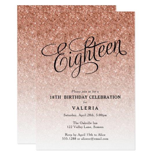 18th Birthday Rose Gold Glitter Invitation Zazzle Com