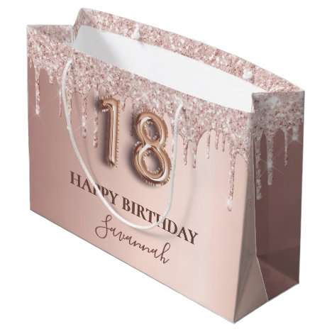 18th birthday rose gold glitter pink balloon style large gift bag