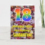 "[ Thumbnail: 18th Birthday; Rustic Autumn Leaves; Rainbow ""18"" Card ]"
