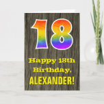 "[ Thumbnail: 18th Birthday: Rustic Faux Wood Look, Rainbow ""18"" Card ]"