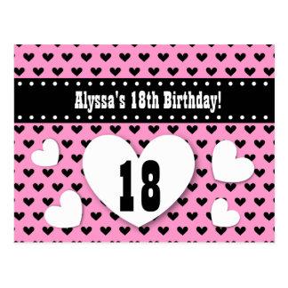 18th Birthday Save Date Birthday A14 Pink Hearts Postcard
