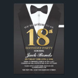 """18th Birthday Spy Suit Black tie Gold Invitation<br><div class=""""desc"""">18th Birthday Spy Suit Black tie Gold Invitation  SIMPLY CHANGE THE TEXT TO SUIT YOUR PARTY. Back print included.</div>"""