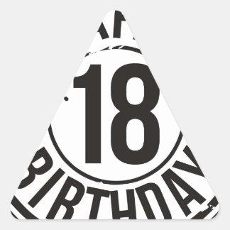 18TH BIRTHDAY STAMP EFFECT TRIANGLE STICKER