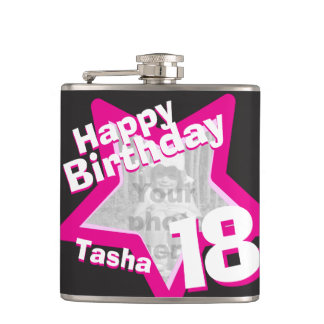 18th birthday star photo girls hip flask
