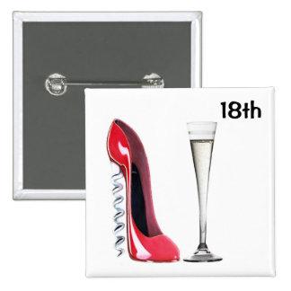 18th Birthday Stiletto and Champagne Badge Button
