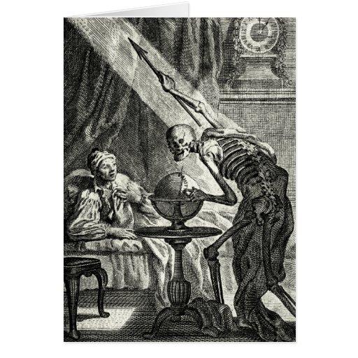 18th C. Grim Reaper Visit Card