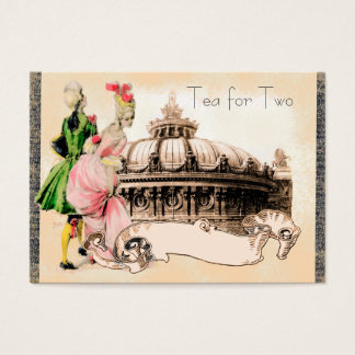 18th Century Couple with the Paris Opera House Business Card