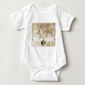 18th Century Dual Hemisphere Map Baby Bodysuit