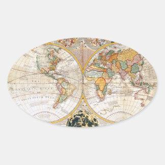 18th Century Dual Hemisphere Map Oval Sticker