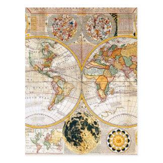 18th Century Dual Hemisphere Map Postcards