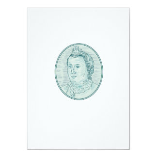 18th Century European Empress Bust Oval Drawing Card