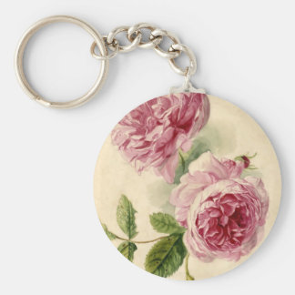 18th Century Pink Rose Study Keychain