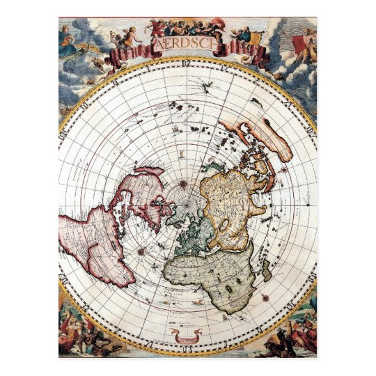18'th Century Polar Map Postcard