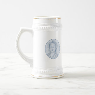 18th Century Russian Empress Bust Oval Drawing Beer Stein