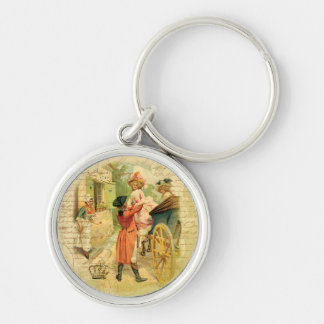 18th Century Wedding Couple in Carriage Keychain