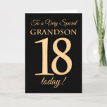 """18th Gold-effect on Black for Grandson Birthday Card<br><div class=""""desc"""">A chic 18th Birthday Card for a 'Very Special Grandson',  with a number 18 composed of gold-effect numbers and the word 'Grandson',  in gold-effect,  on a black background. The inside message,  which you can change if you wish,  is 'Happy Birthday'</div>"""