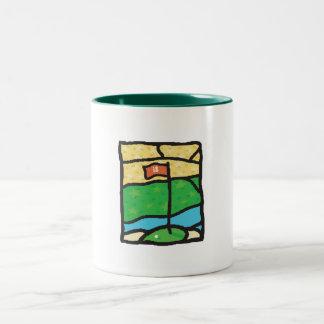 18th Green Golf Design Two-Tone Coffee Mug