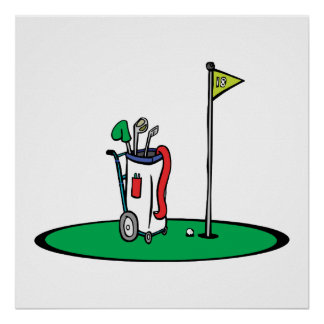 18th hole golf graphic poster