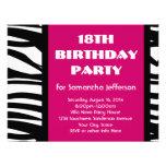 18th Hot Pink Zebra Invitations