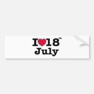 18th july my day of birthday bumper sticker