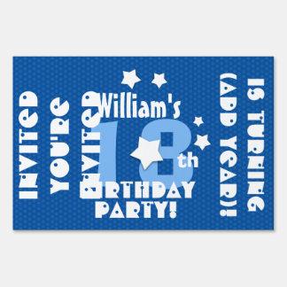 18th or Any Birthday Stars Custom K18Z BLUE Lawn Sign