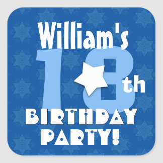 18th or Any Birthday Stars Custom K18Z BLUE Square Sticker