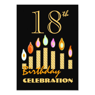 18th or Any Year Birthday Gold Candles Budget C02 4.5x6.25 Paper Invitation Card