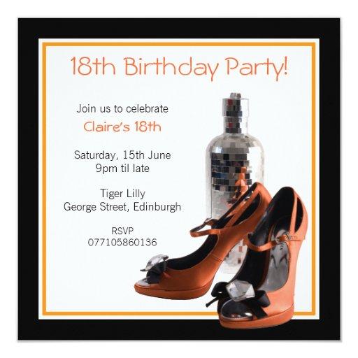 18th Orange Party Shoes Invitation 13 Cm X 13 Cm Square Invitation Card