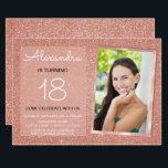 "18th Sparkle Rose Gold Blush Pink Photo Invitation<br><div class=""desc"">18th Girl"