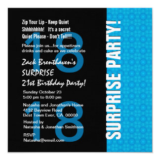 18th Surprise Birthday Modern Turquoise Blue V105 Card