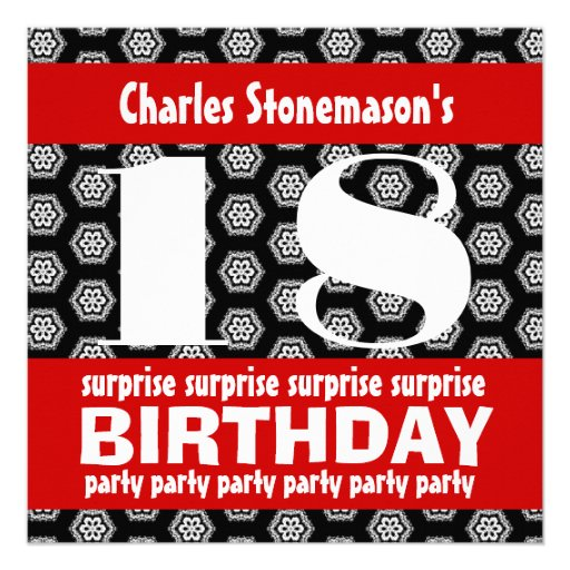 """18th Surprise Birthday Party Black Red White 5.25"""" Square"""