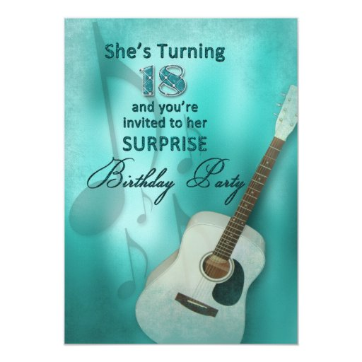 18th Surprise Birthday Party Invitation - Guitar