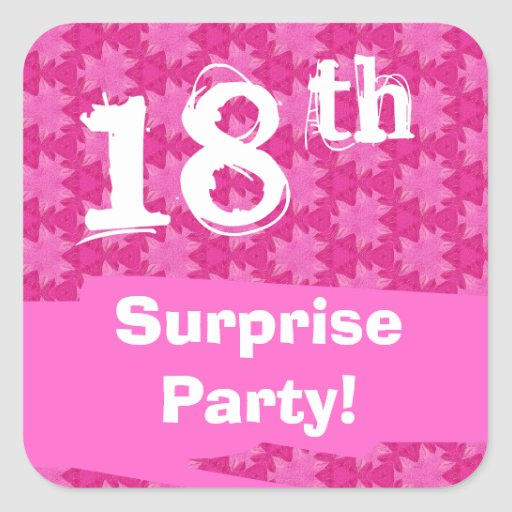 18th Surprise Birthday Party Pink Pattern Template Square