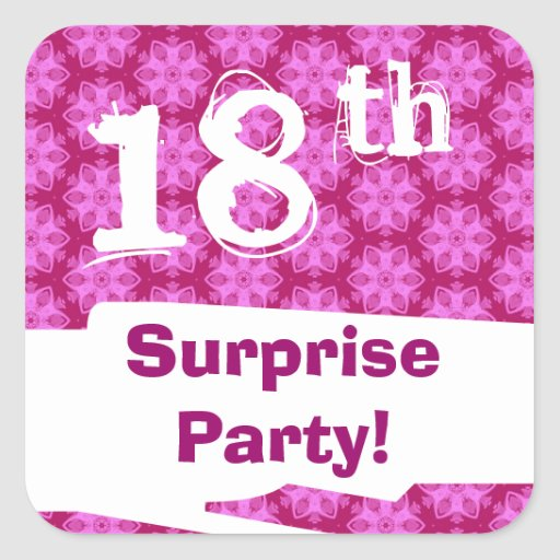 18th Surprise Birthday Party Pink Pattern Template Sticker