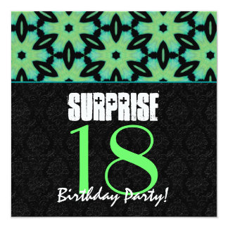 18th Surprise Birthday Party Teal and Black Modern Card