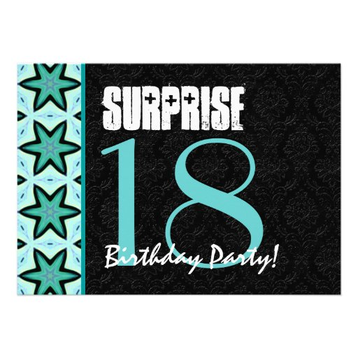 18th Surprise Birthday Party Teal And Black Modern
