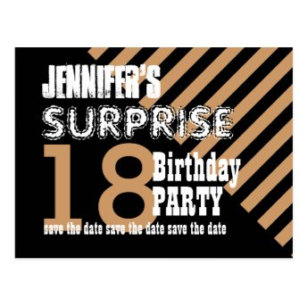 18th Surprise Birthday Save the Date STRIPES T18AZ Post Cards