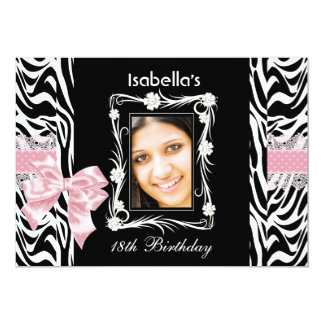 18th Teen Birthday Party Pink Black White Zebra Card